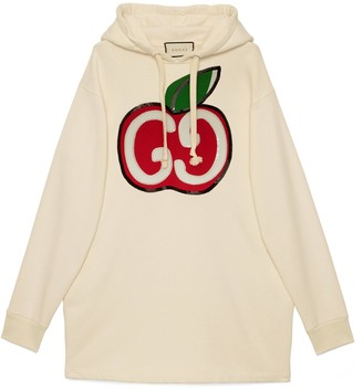 Gucci Hooded dress with GG apple print