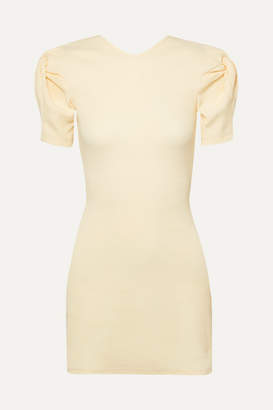 Maggie Marilyn Net Sustain Hey Now Knotted Cutout Ribbed Stretch Cotton-jersey Mini Dress - Ecru