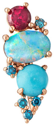 Stevie Wren GemBar 14k Rose Gold Diamond & Stone Ear Climber, Right