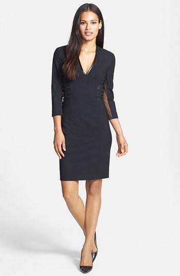 Rachel Roy Faux Leather Trim V-Neck Dress