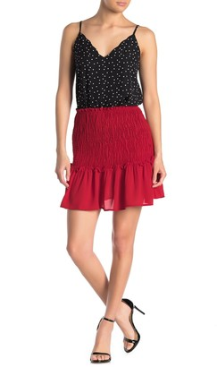 GOOD LUCK GEM Smocked Waist Mini Skirt