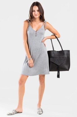 francesca's Leah Ribbed Knit Dress - Heather Gray