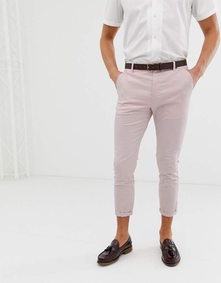 Asos Design DESIGN skinny cropped chinos in pastel pink