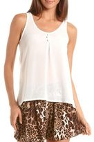 Charlotte Russe Bow-Back Button-Front Tank