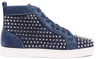 Christian Louboutin Louis Orlato Studded Suede High-top Trainers - Mens - Navy