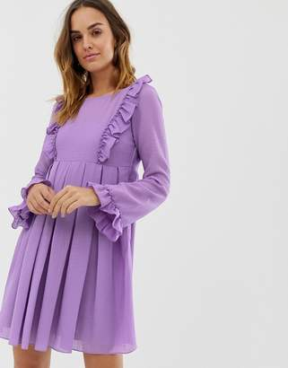 Naf Naf romantic layered dress with long sleeves-Purple