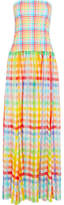 Caroline Constas Marianna Strapless Gingham Cotton-jersey And Silk-chiffon Dress