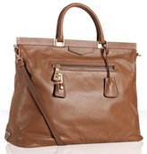 tan leather large frame top tote