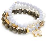 Good Charma Carved Bone Elephant & Lace Agate Bangle Bracelets (Set of 4)