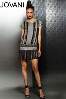 Jovani Short Dress with Fringe Skirt M145