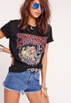 Missguided Guns N Roses Skeleton Graphic T-Shirt Black