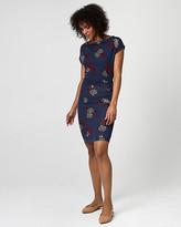 Le Château Floral Print Jersey Cowl Neck Pleated Dress