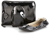 CitySlips Black Patent Foldable Ballet Flats & Carrying Case