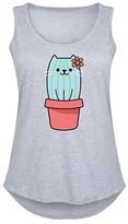 Instant Message Plus Women's Tank Tops ATHLETIC - Athletic Heather Cat Cactus Tank - Plus