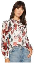 Lucky Brand Open Floral Print Top Women's Clothing