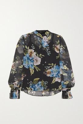 Erdem Barnaby Floral-print Silk-voile Blouse - Black