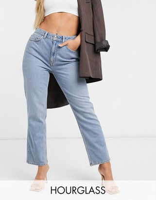 ASOS DESIGN Hourglass high rise stretch 'slim' straight leg jeans in lightwash
