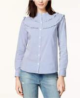 Maison Jules Ruffled Pinstripe Shirt, Created for Macy's