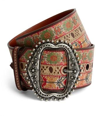 Etro Leather Wide Patterned Belt