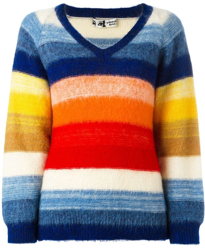 Kansai Yamamoto Pre-Owned 1980s contrast stripe V-neck jumper