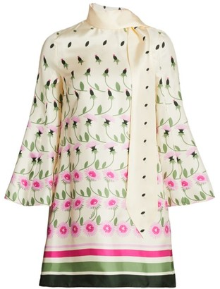 Valentino Daisy Degrade Silk Tunic Dress