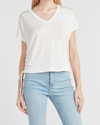 Express Metallic Cinched V-Neck Tee