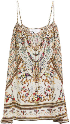 Camilla Crystal-embellished Printed Silk Crepe De Chine Camisole