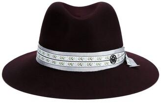 Maison Michel Burgundy Wool Henrietta Fedora Hat