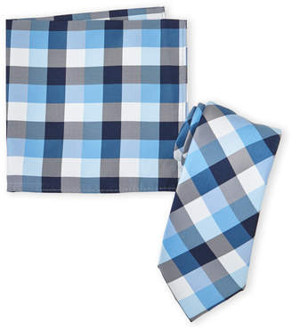 Nautica Blue Plaid Tie & Pocket Square Set