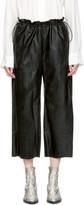 MM6 Maison Martin Margiela Black Faux-Leather Drawstring Trousers