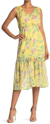 MelloDay Printed Flounce Hem Sleeveless Midi Dress