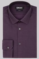 DKNY Slim Fit Purple Single Cuff Textured Shirt