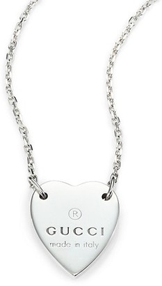 Gucci Sterling Silver Signature Heart Pendant Necklace