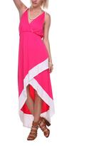 Stanzino Fuchsia & White Stripe Surplice Dress