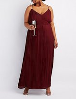 Charlotte Russe Plus Size Pleated V-Neck Maxi Dress