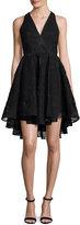 Milly Cynthia Sleeveless Organza Fit-and-Flare Mini Dress, Black