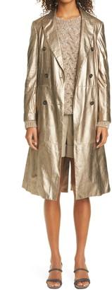 Brunello Cucinelli Metallic Lambskin Leather Coat