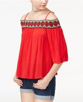 Amy Byer Juniors' Embroidered Off-The-Shoulder Top