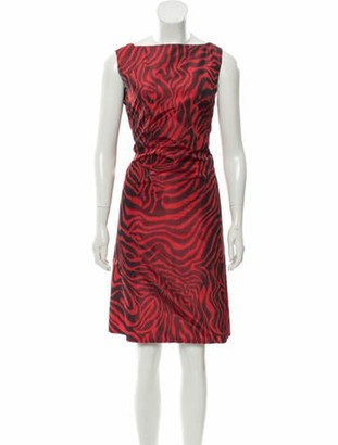 Calvin Klein S/S 2019 Collection Red Zebra Print V-Back Sheath Dress w/ Tags Red S/S 2019 Collection Red Zebra Print V-Back Sheath Dress w/ Tags