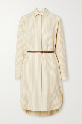 The Row Sonia Belted Striped Jacquard Dress - Pastel yellow