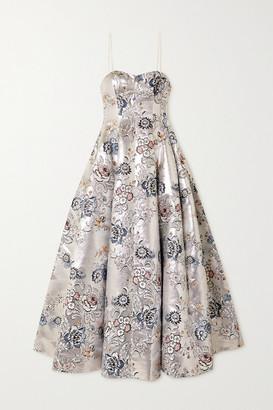 Erdem Adalyn Metallic Floral-jacquard Gown - Silver