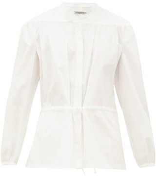 Three Graces London Rosaline Drawstring-waist Cotton Blouse - White
