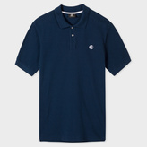 Men's Washed Navy Embroidered PS Logo Organic-Cotton Polo Shirt