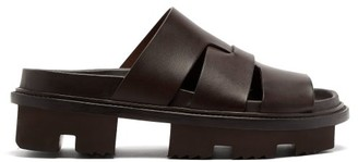 Rick Owens Lazarus Lug-sole Leather Slides - Dark Brown