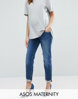 Asos Kimmi Boyfriend Jeans In Roxy Wash With Over The Bump Waistband