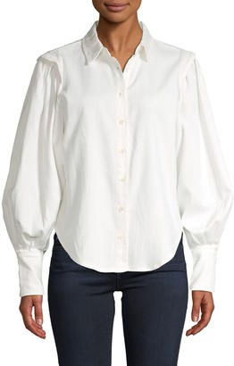 Frame Cinched Cotton-Blend Blouse
