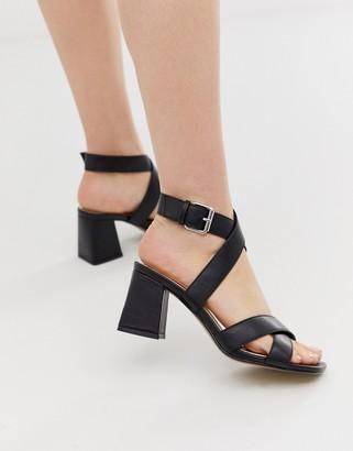 Head Over Heels By Dune Jay black wrap around block heeled sandals