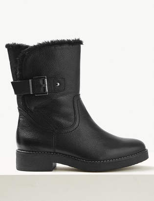 Marks and Spencer Wide Fit Leather Faux Fur Cuff Ankle Boots