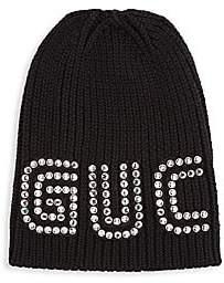 Gucci Women's Crystal Logo Wool Hat