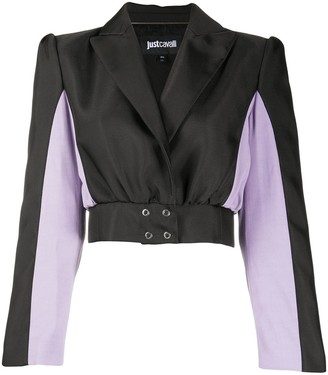 Just Cavalli Cropped Colour Block Jacket